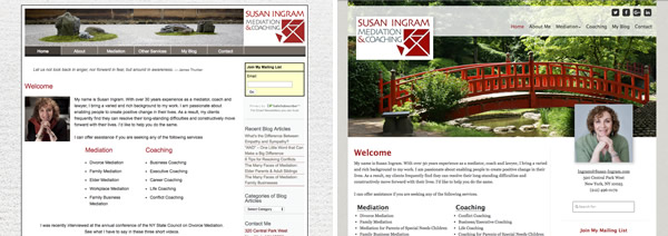 Susan-ingram.com Before and After Redesign